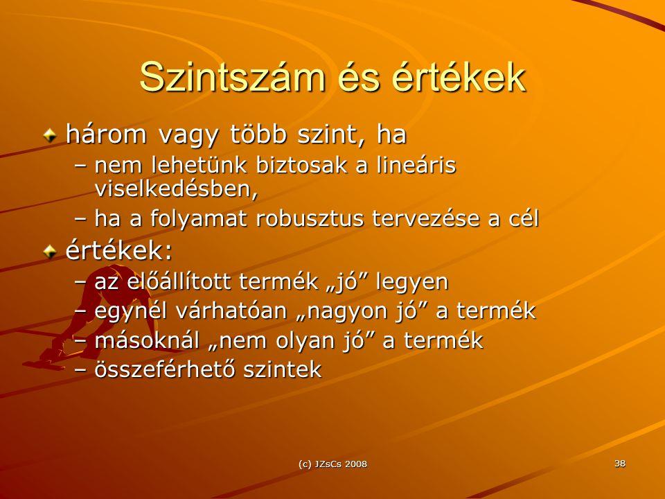 (c) JZsCs 2008 38 Szintszám és értékek három vagy több szint, ha –nem lehetünk biztosak a lineáris viselkedésben, –ha a folyamat robusztus tervezése a