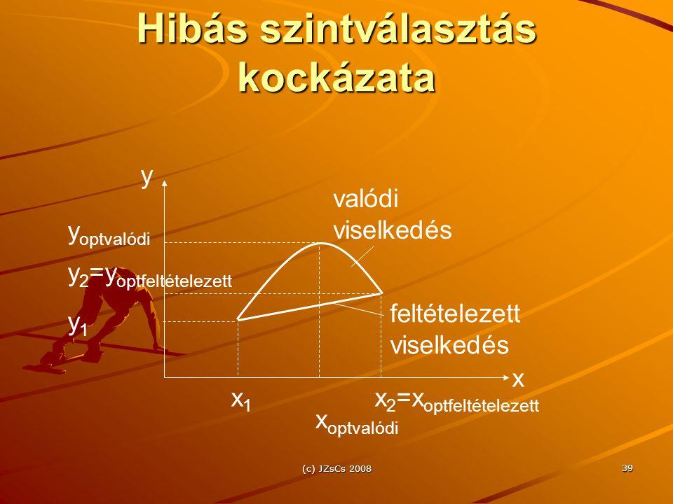 (c) JZsCs 2008 39 Hibás szintválasztás kockázata x1x1 x 2 =x optfeltételezett x y x optvalódi y1y1 y 2 =y optfeltételezett y optvalódi valódi viselkedés feltételezett viselkedés