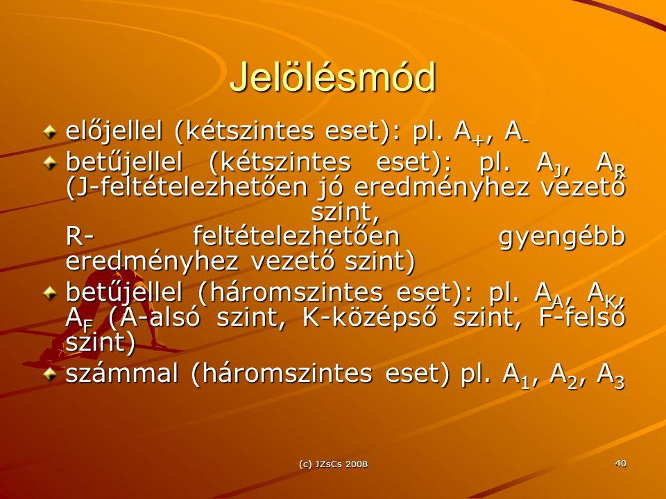 (c) JZsCs 2008 40 Jelölésmód előjellel (kétszintes eset): pl. A +, A - betűjellel (kétszintes eset): pl. A J, A R (J-feltételezhetően jó eredményhez v
