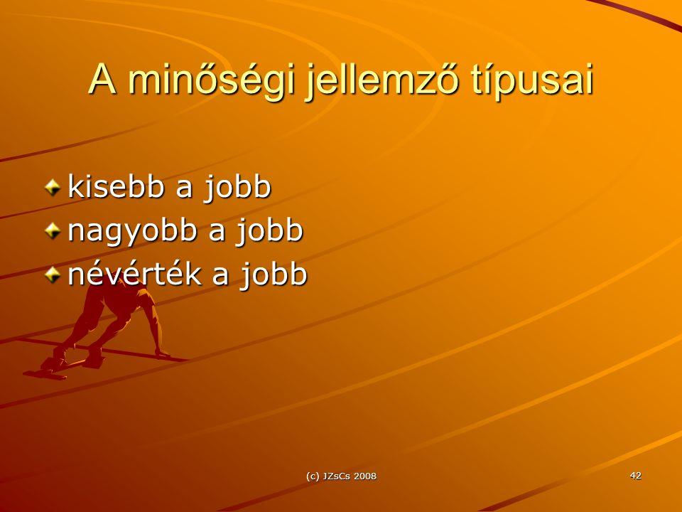 (c) JZsCs 2008 42 A minőségi jellemző típusai kisebb a jobb nagyobb a jobb névérték a jobb