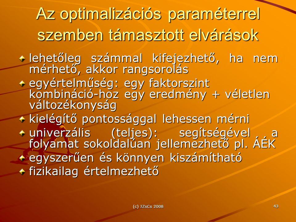 (c) JZsCs 2008 43 Az optimalizációs paraméterrel szemben támasztott elvárások lehetőleg számmal kifejezhető, ha nem mérhető, akkor rangsorolás egyértelműség: egy faktorszint kombináció-hoz egy eredmény + véletlen változékonyság kielégítő pontossággal lehessen mérni univerzális (teljes): segítségével a folyamat sokoldalúan jellemezhető pl.