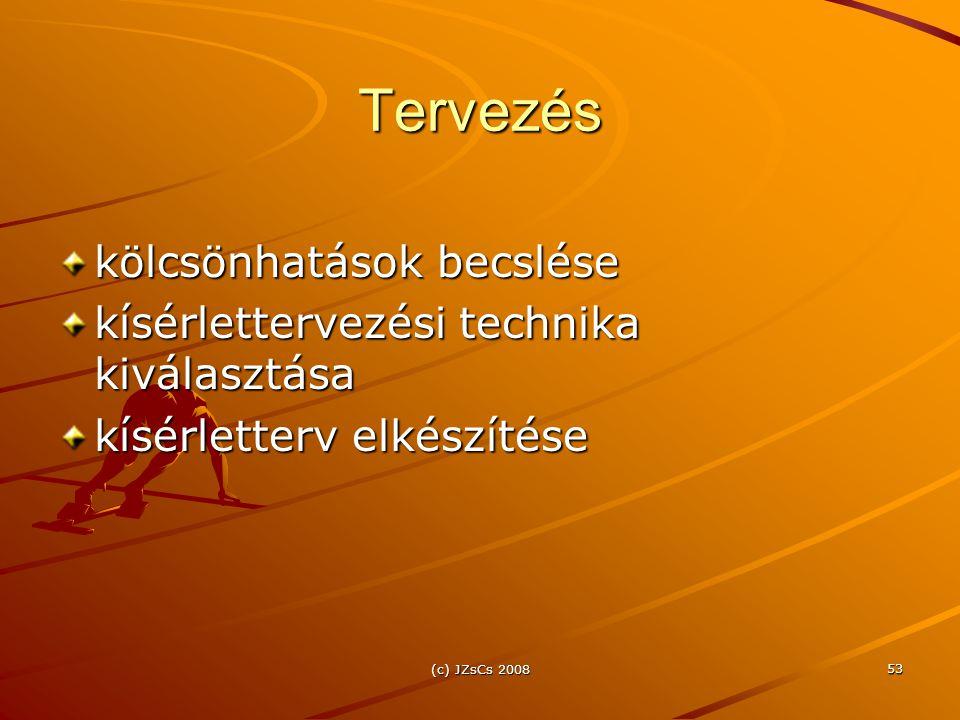 (c) JZsCs 2008 53 Tervezés kölcsönhatások becslése kísérlettervezési technika kiválasztása kísérletterv elkészítése