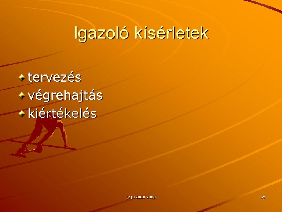 (c) JZsCs 2008 58 Igazoló kísérletek tervezésvégrehajtáskiértékelés