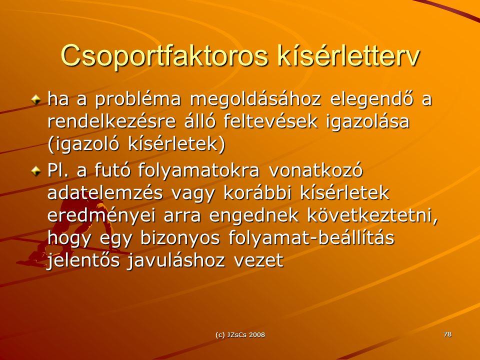 (c) JZsCs 2008 78 Csoportfaktoros kísérletterv ha a probléma megoldásához elegendő a rendelkezésre álló feltevések igazolása (igazoló kísérletek) Pl.