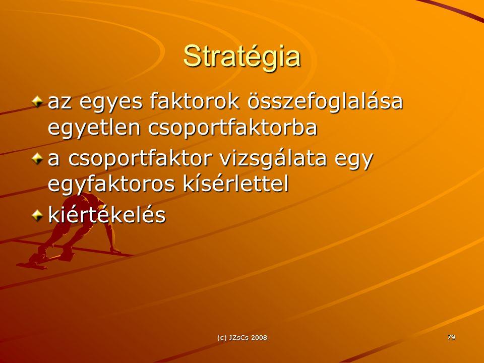 (c) JZsCs 2008 79 Stratégia az egyes faktorok összefoglalása egyetlen csoportfaktorba a csoportfaktor vizsgálata egy egyfaktoros kísérlettel kiértékelés