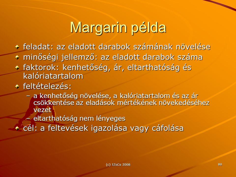 (c) JZsCs 2008 80 Margarin példa feladat: az eladott darabok számának növelése minőségi jellemző: az eladott darabok száma faktorok: kenhetőség, ár, eltarthatóság és kalóriatartalom feltételezés: –a kenhetőség növelése, a kalóriatartalom és az ár csökkentése az eladások mértékének növekedéséhez vezet –eltarthatóság nem lényeges cél: a feltevések igazolása vagy cáfolása