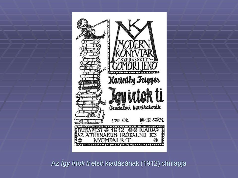 Az Így írtok ti első kiadásának (1912) címlapja
