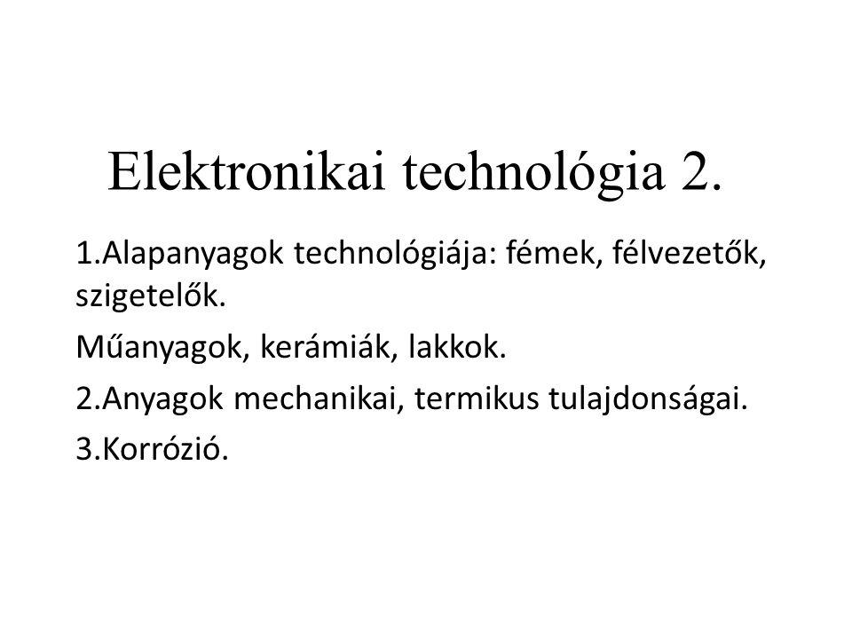Elektronikai technológia 2. 1.Alapanyagok technológiája: fémek, félvezetők, szigetelők. Műanyagok, kerámiák, lakkok. 2.Anyagok mechanikai, termikus tu