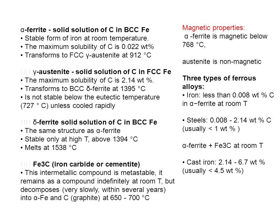α-ferrite - solid solution of C in BCC Fe • Stable form of iron at room temperature. • The maximum solubility of C is 0.022 wt% • Transforms to FCC γ-