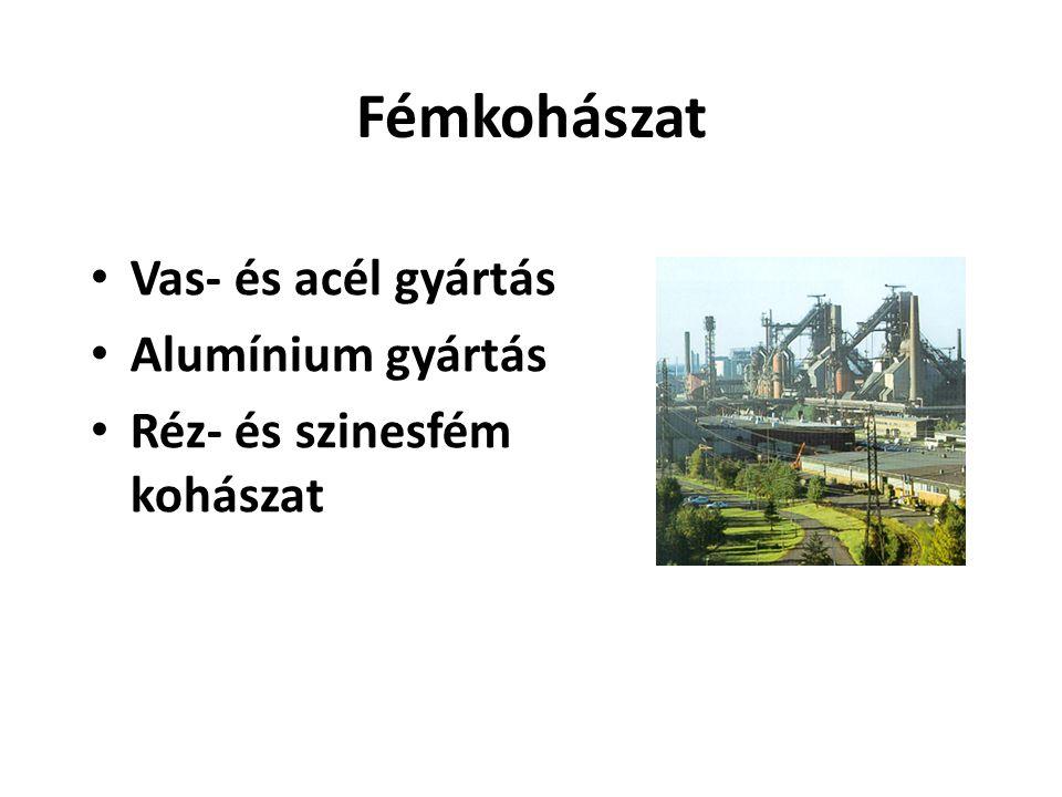 Fémkohászat • Vas- és acél gyártás • Alumínium gyártás • Réz- és szinesfém kohászat