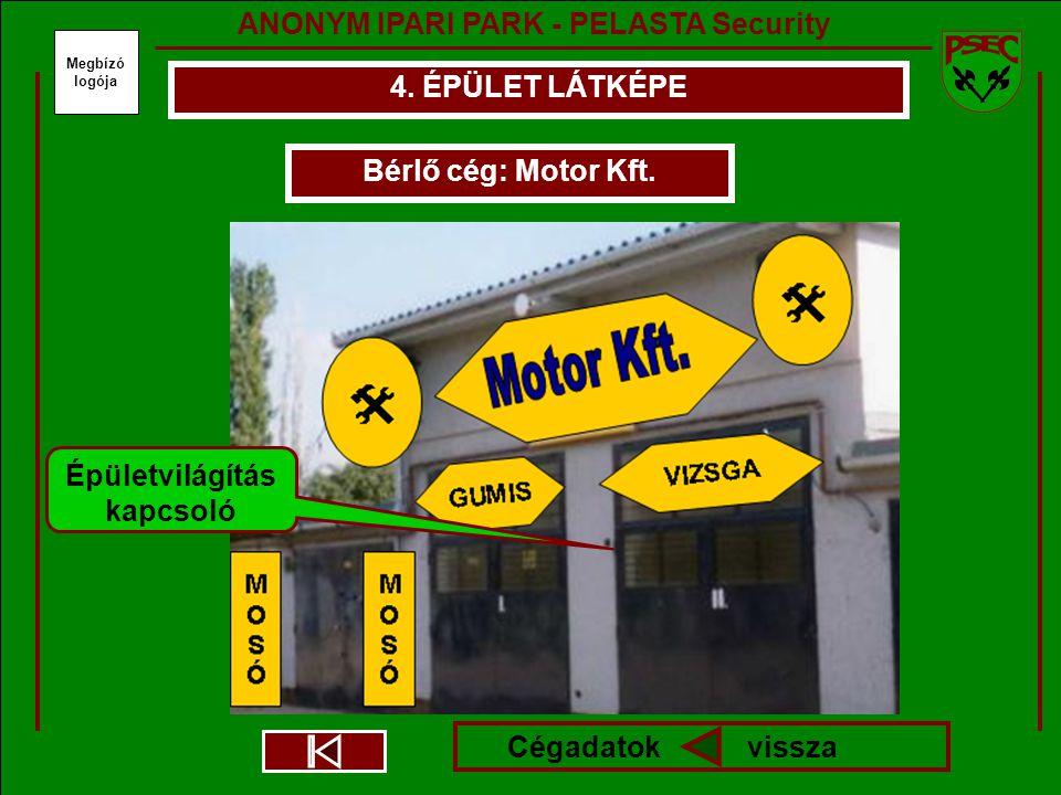 Megbízó logója 4. ÉPÜLET LÁTKÉPE Bérlő cég: Motor Kft.