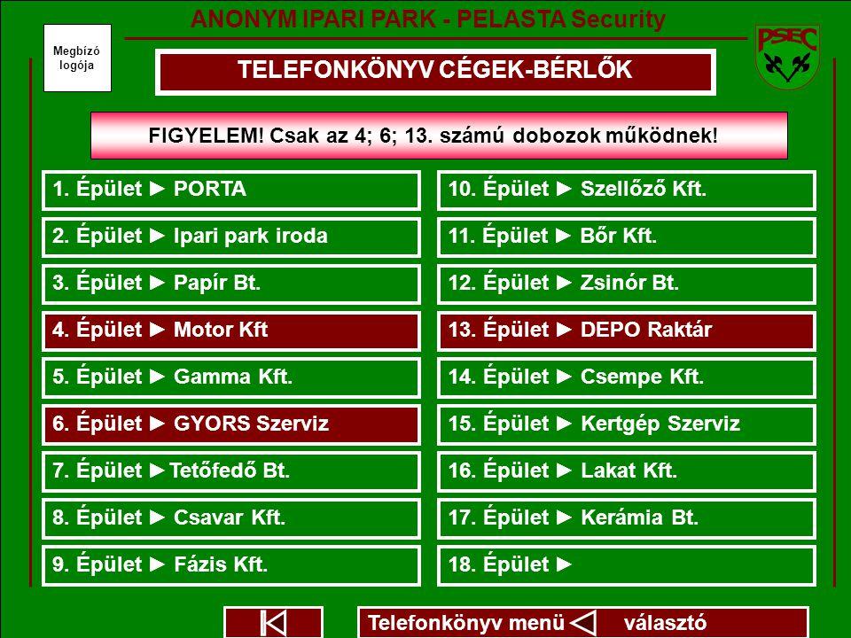 TELEFONKÖNYV CÉGEK-BÉRLŐK Megbízó logója 2. Épület ► Ipari park iroda 3.