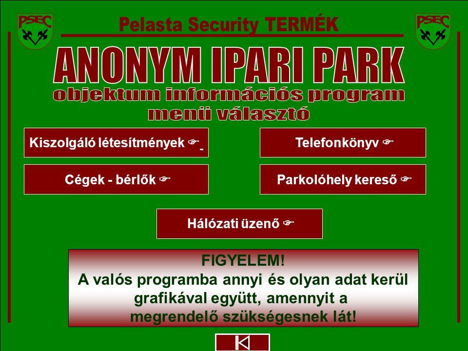 ANONYM IPARI PARK - PELASTA Security CÉGEK- BÉTRLŐK PARKOLÓHELY ELOSZTÁS Megbízó logója 2.