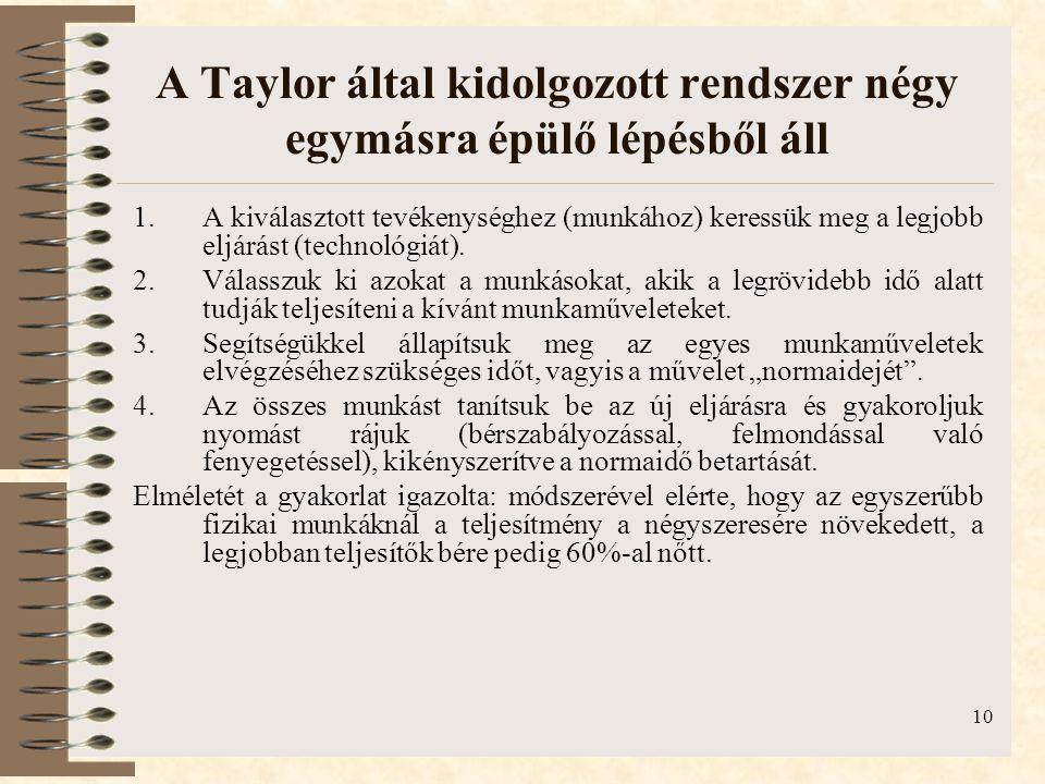 10 A Taylor által kidolgozott rendszer négy egymásra épülő lépésből áll 1.A kiválasztott tevékenységhez (munkához) keressük meg a legjobb eljárást (technológiát).