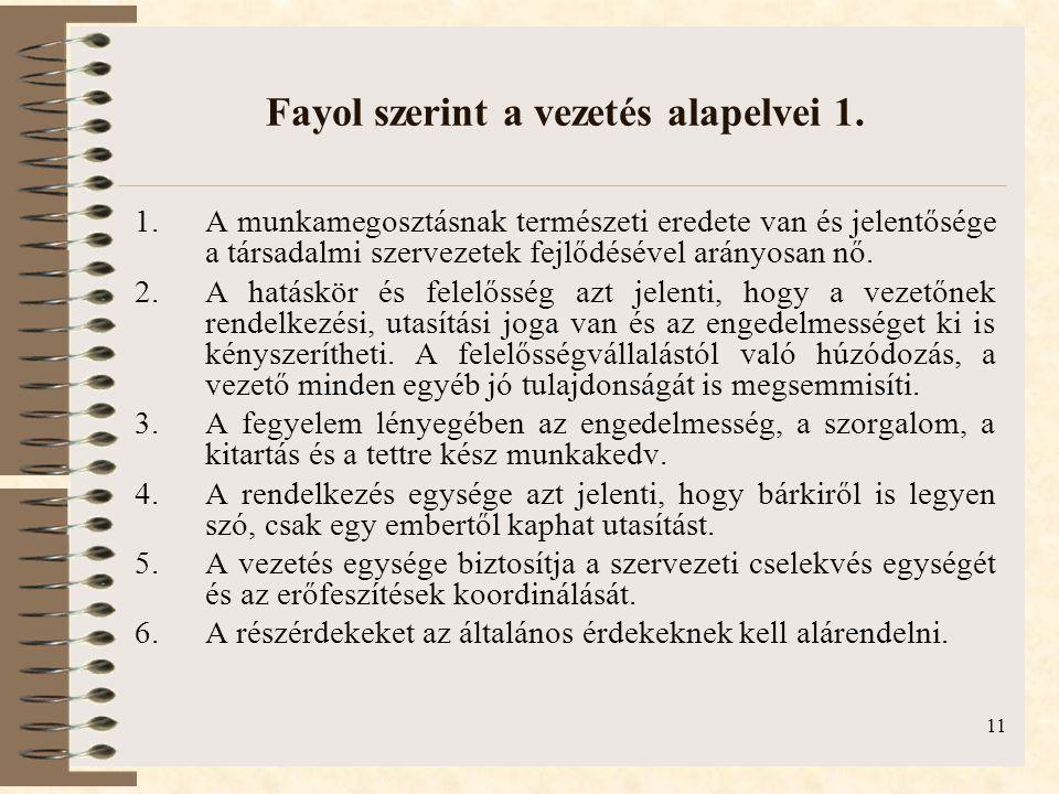 11 Fayol szerint a vezetés alapelvei 1.
