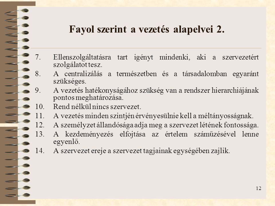 12 Fayol szerint a vezetés alapelvei 2.
