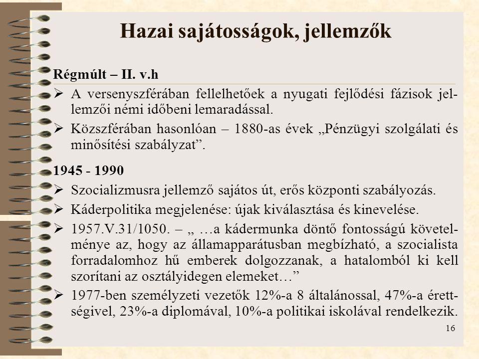 16 Hazai sajátosságok, jellemzők Régmúlt – II. v.h  A versenyszférában fellelhetőek a nyugati fejlődési fázisok jel- lemzői némi időbeni lemaradással