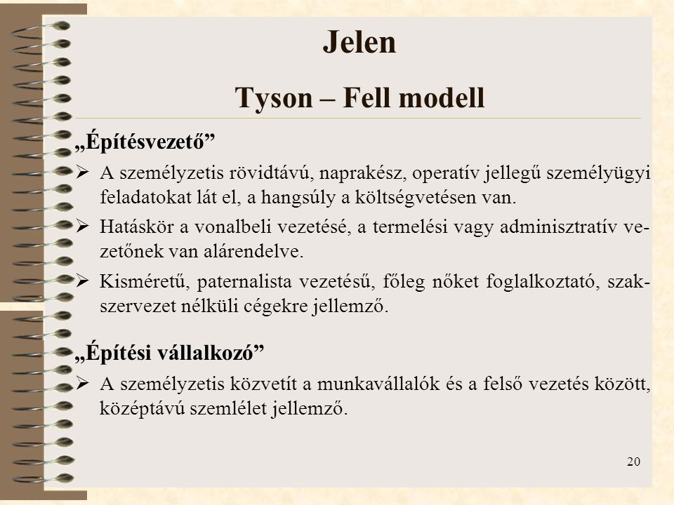 """20 Jelen Tyson – Fell modell """"Építésvezető""""  A személyzetis rövidtávú, naprakész, operatív jellegű személyügyi feladatokat lát el, a hangsúly a költs"""