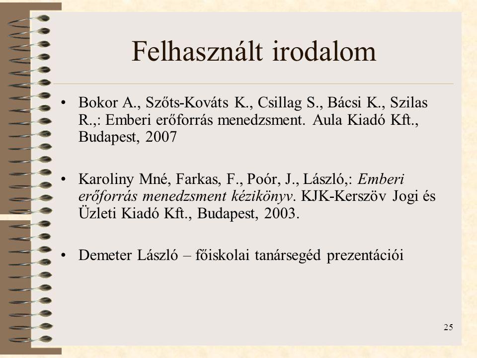 25 Felhasznált irodalom •Bokor A., Szőts-Kováts K., Csillag S., Bácsi K., Szilas R.,: Emberi erőforrás menedzsment. Aula Kiadó Kft., Budapest, 2007 •K