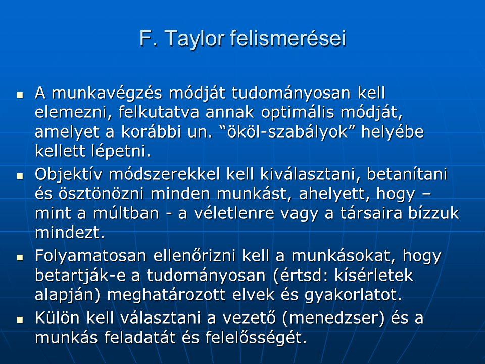 """F. Taylor felismerései  A munkavégzés módját tudományosan kell elemezni, felkutatva annak optimális módját, amelyet a korábbi un. """"ököl-szabályok"""" he"""