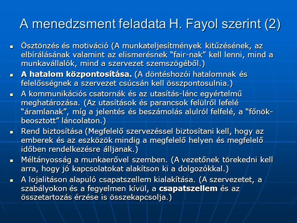 """A menedzsment feladata H. Fayol szerint (2)  Ösztönzés és motiváció (A munkateljesítmények kitűzésének, az elbírálásának valamint az elismerésnek """"fa"""