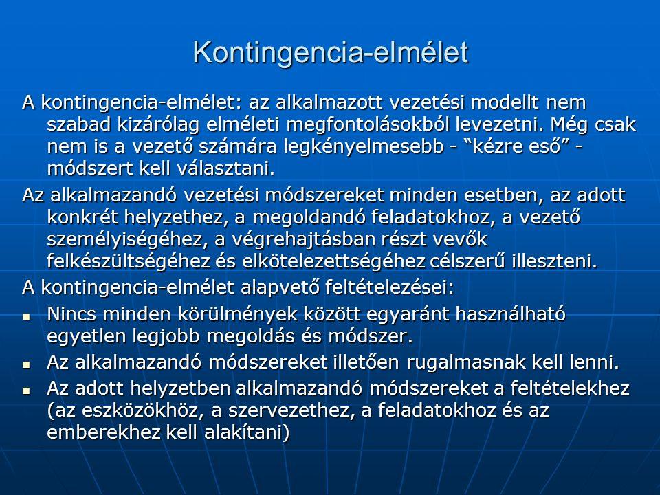 Kontingencia-elmélet A kontingencia-elmélet: az alkalmazott vezetési modellt nem szabad kizárólag elméleti megfontolásokból levezetni. Még csak nem is
