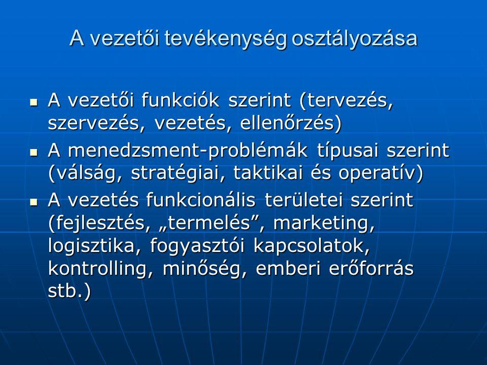 A vezetői tevékenység osztályozása  A vezetői funkciók szerint (tervezés, szervezés, vezetés, ellenőrzés)  A menedzsment-problémák típusai szerint (