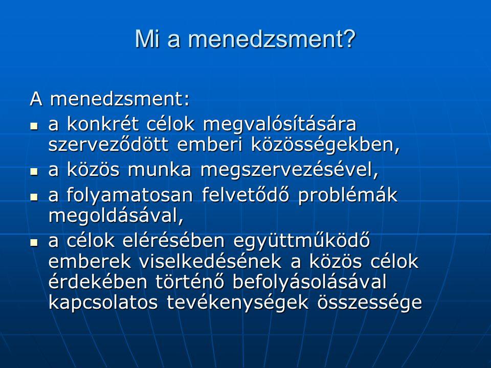 Mi a menedzsment? A menedzsment:  a konkrét célok megvalósítására szerveződött emberi közösségekben,  a közös munka megszervezésével,  a folyamatos