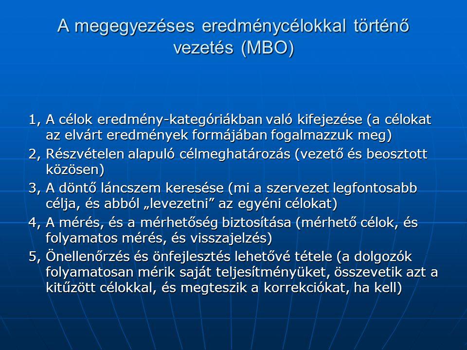 A megegyezéses eredménycélokkal történő vezetés (MBO) 1, A célok eredmény-kategóriákban való kifejezése (a célokat az elvárt eredmények formájában fog