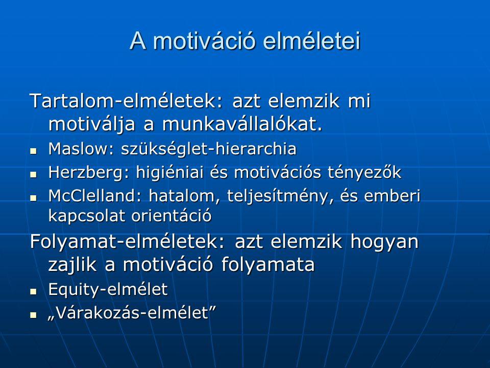 A motiváció elméletei Tartalom-elméletek: azt elemzik mi motiválja a munkavállalókat.  Maslow: szükséglet-hierarchia  Herzberg: higiéniai és motivác