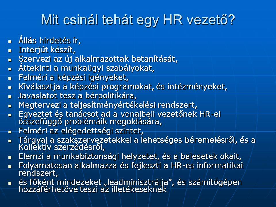 Mit csinál tehát egy HR vezető?  Állás hirdetés ír,  Interjút készít,  Szervezi az új alkalmazottak betanítását,  Áttekinti a munkaügyi szabályoka