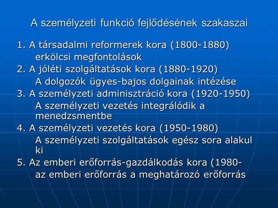 A személyzeti funkció fejlődésének szakaszai 1. A társadalmi reformerek kora (1800-1880) erkölcsi megfontolások 2. A jóléti szolgáltatások kora (1880-