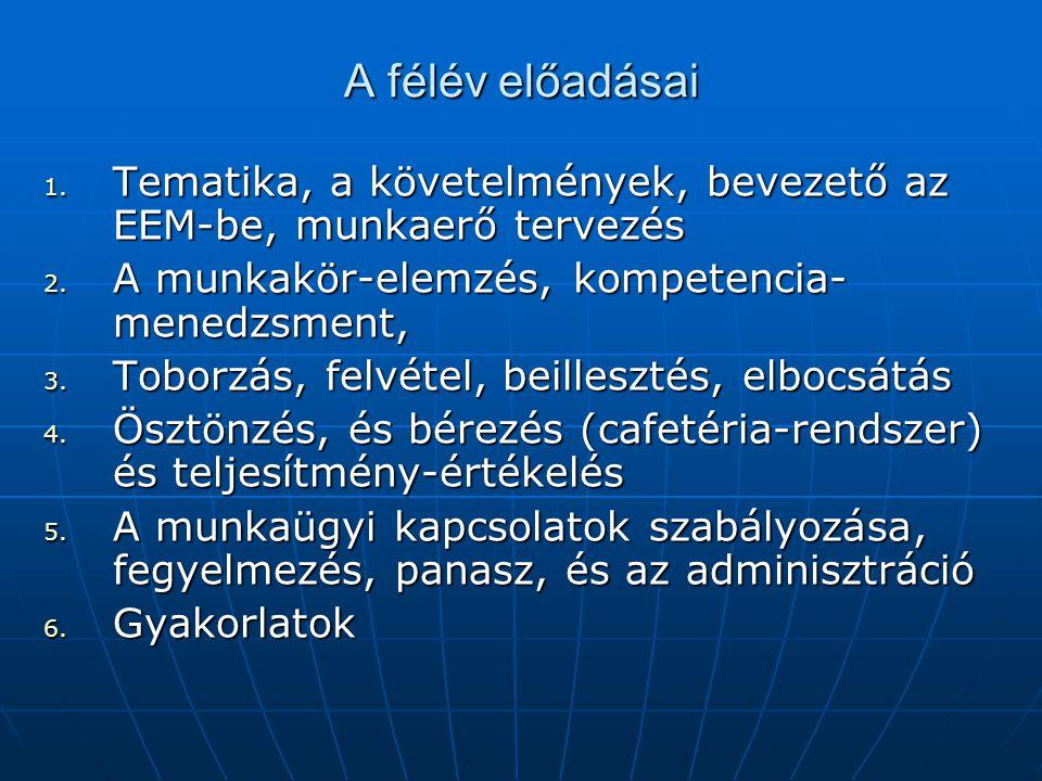 A félév előadásai 1. Tematika, a követelmények, bevezető az EEM-be, munkaerő tervezés 2. A munkakör-elemzés, kompetencia- menedzsment, 3. Toborzás, fe