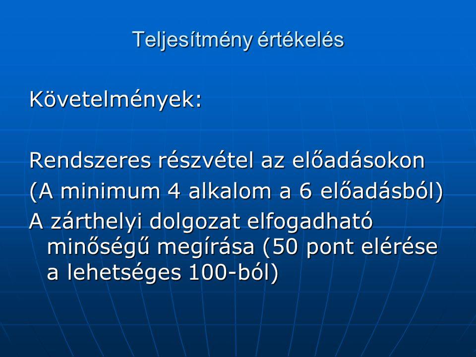 Teljesítmény értékelés Követelmények: Rendszeres részvétel az előadásokon (A minimum 4 alkalom a 6 előadásból) A zárthelyi dolgozat elfogadható minőségű megírása (50 pont elérése a lehetséges 100-ból)