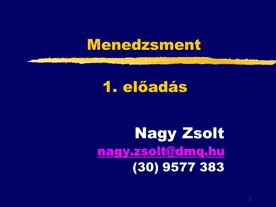 1 Menedzsment Nagy Zsolt nagy.zsolt@dmq.hu (30) 9577 383 1. előadás