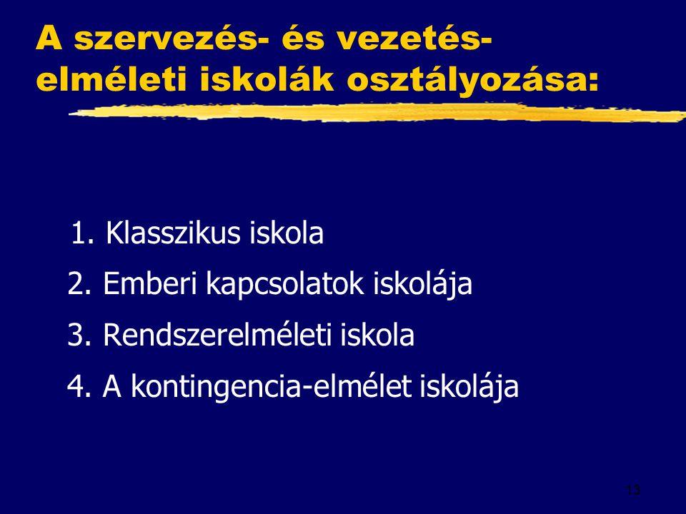 13 A szervezés- és vezetés- elméleti iskolák osztályozása: 1.