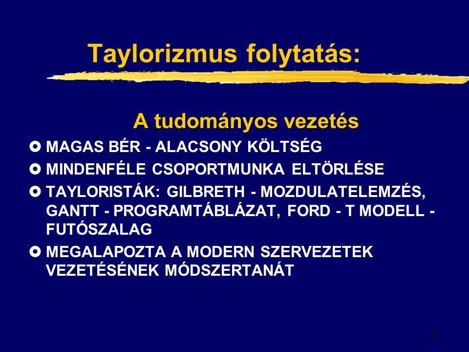16 Taylorizmus folytatás: A tudományos vezetés  MAGAS BÉR - ALACSONY KÖLTSÉG  MINDENFÉLE CSOPORTMUNKA ELTÖRLÉSE  TAYLORISTÁK: GILBRETH - MOZDULATELEMZÉS, GANTT - PROGRAMTÁBLÁZAT, FORD - T MODELL - FUTÓSZALAG  MEGALAPOZTA A MODERN SZERVEZETEK VEZETÉSÉNEK MÓDSZERTANÁT