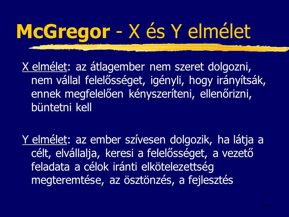 23 McGregor - X és Y elmélet X elmélet: az átlagember nem szeret dolgozni, nem vállal felelősséget, igényli, hogy irányítsák, ennek megfelelően kényszeríteni, ellenőrizni, büntetni kell Y elmélet: az ember szívesen dolgozik, ha látja a célt, elvállalja, keresi a felelősséget, a vezető feladata a célok iránti elkötelezettség megteremtése, az ösztönzés, a fejlesztés