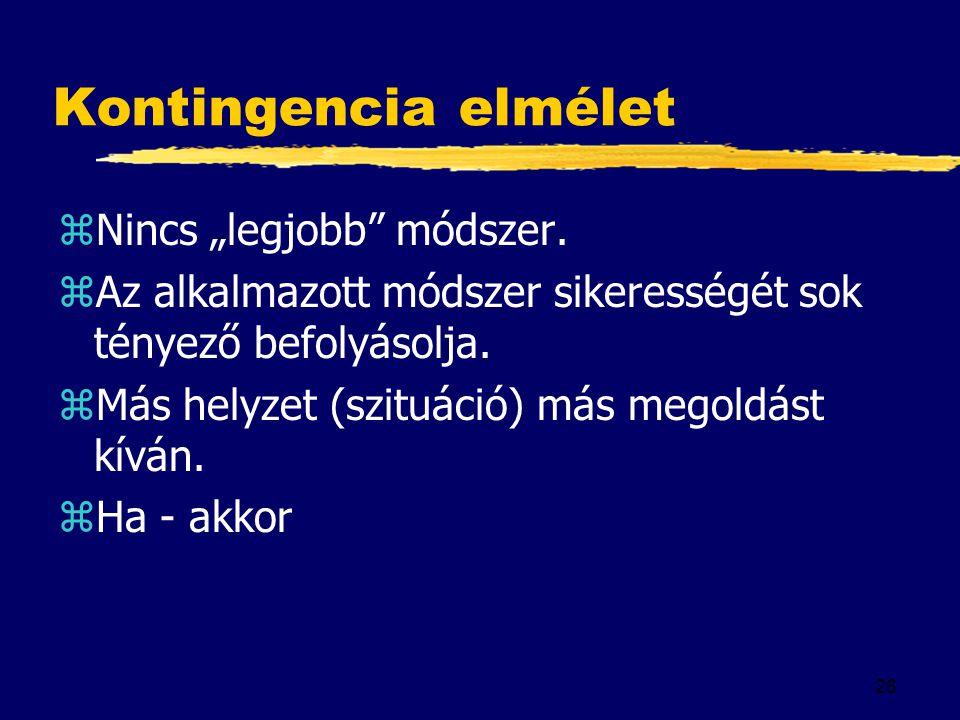 """26 Kontingencia elmélet zNincs """"legjobb"""" módszer. zAz alkalmazott módszer sikerességét sok tényező befolyásolja. zMás helyzet (szituáció) más megoldás"""