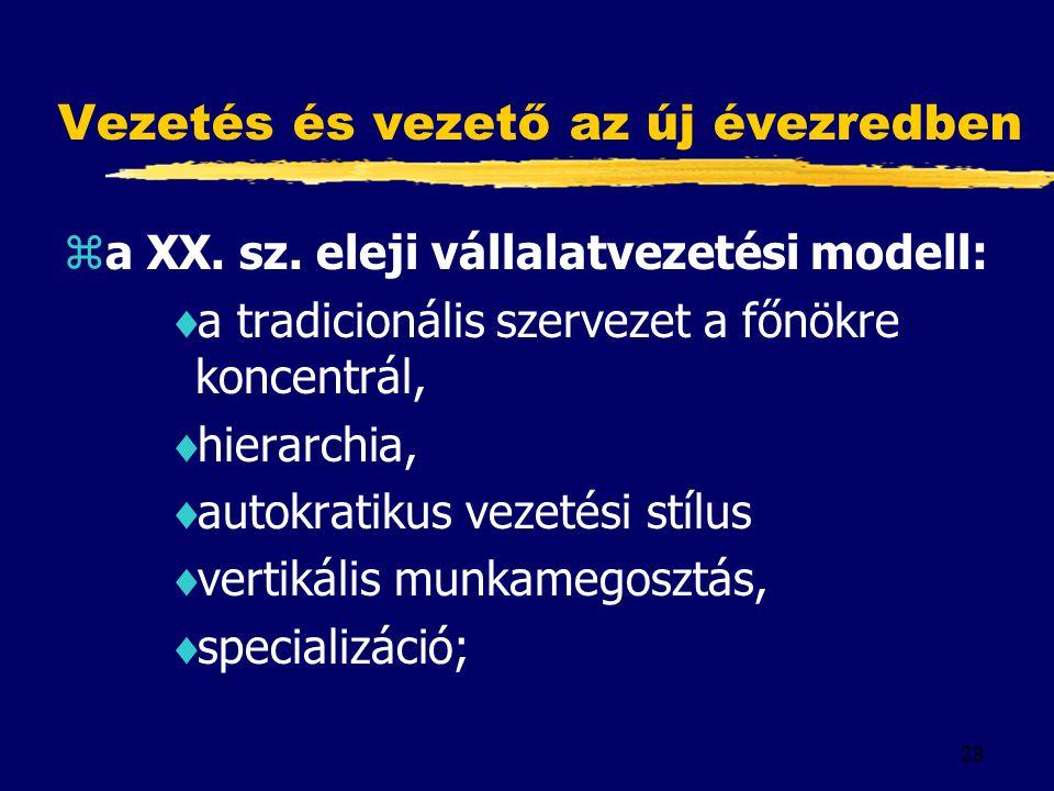 28 Vezetés és vezető az új évezredben za XX. sz. eleji vállalatvezetési modell:  a tradicionális szervezet a főnökre koncentrál,  hierarchia,  auto