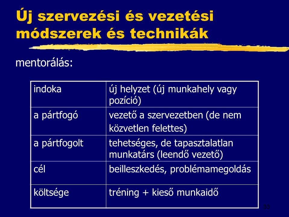 33 Új szervezési és vezetési módszerek és technikák mentorálás: indokaúj helyzet (új munkahely vagy pozíció) a pártfogóvezető a szervezetben (de nem k