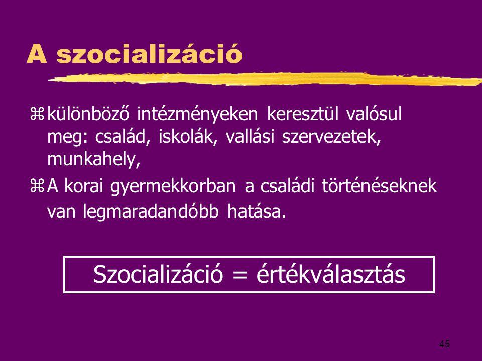 45 A szocializáció zkülönböző intézményeken keresztül valósul meg: család, iskolák, vallási szervezetek, munkahely, zA korai gyermekkorban a családi t