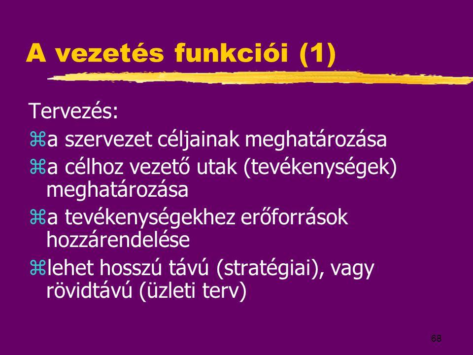 68 A vezetés funkciói (1) Tervezés: za szervezet céljainak meghatározása za célhoz vezető utak (tevékenységek) meghatározása za tevékenységekhez erőfo