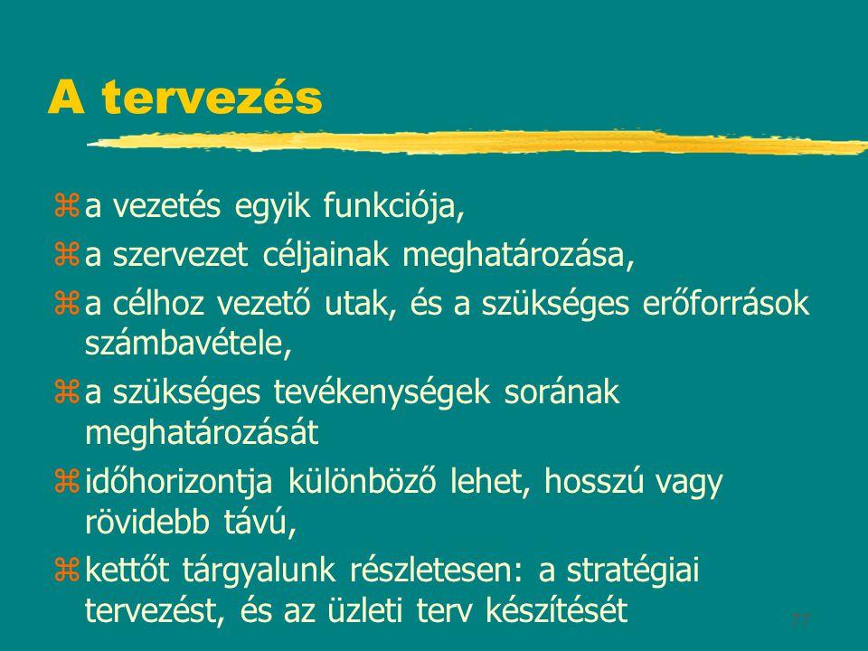 77 A tervezés za vezetés egyik funkciója, za szervezet céljainak meghatározása, za célhoz vezető utak, és a szükséges erőforrások számbavétele, za szü