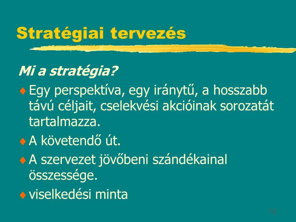 78 Stratégiai tervezés Mi a stratégia?  Egy perspektíva, egy iránytű, a hosszabb távú céljait, cselekvési akcióinak sorozatát tartalmazza.  A követe