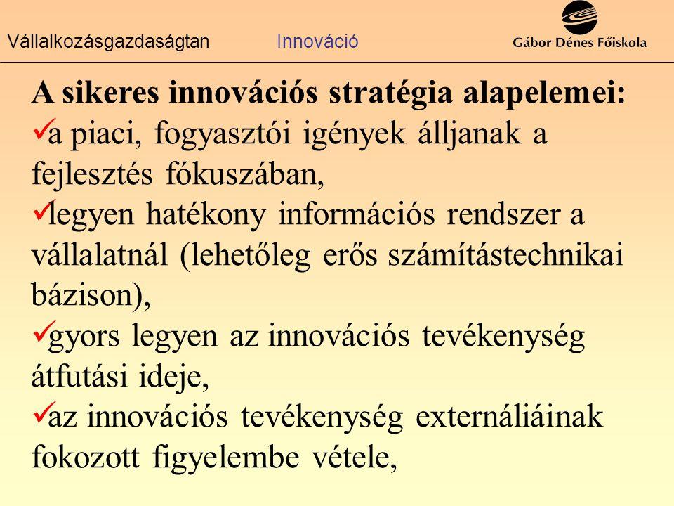 VállalkozásgazdaságtanInnováció A sikeres innovációs stratégia alapelemei:  a piaci, fogyasztói igények álljanak a fejlesztés fókuszában,  legyen hatékony információs rendszer a vállalatnál (lehetőleg erős számítástechnikai bázison),  gyors legyen az innovációs tevékenység átfutási ideje,  az innovációs tevékenység externáliáinak fokozott figyelembe vétele,