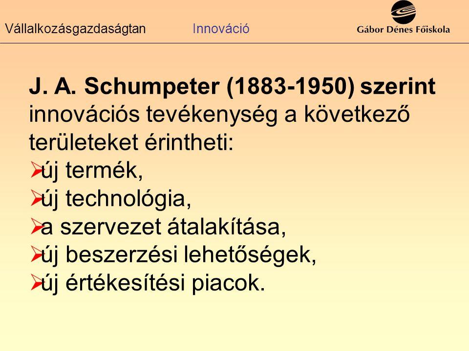 J. A. Schumpeter (1883-1950) szerint innovációs tevékenység a következő területeket érintheti:  új termék,  új technológia,  a szervezet átalakítás