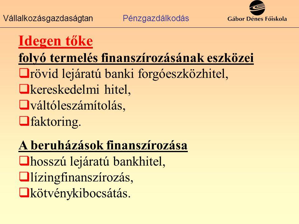 VállalkozásgazdaságtanPénzgazdálkodás Idegen tőke folyó termelés finanszírozásának eszközei  rövid lejáratú banki forgóeszközhitel,  kereskedelmi hitel,  váltóleszámítolás,  faktoring.
