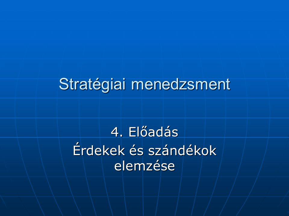 Stratégiai menedzsment 4. Előadás Érdekek és szándékok elemzése