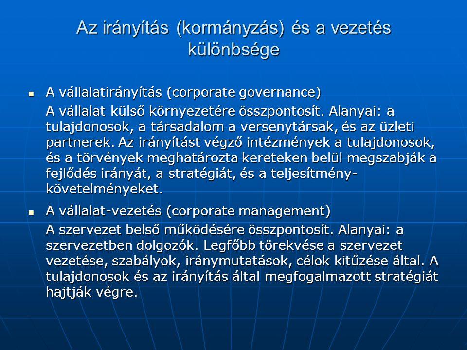 Az irányítás (kormányzás) és a vezetés különbsége  A vállalatirányítás (corporate governance) A vállalat külső környezetére összpontosít. Alanyai: a